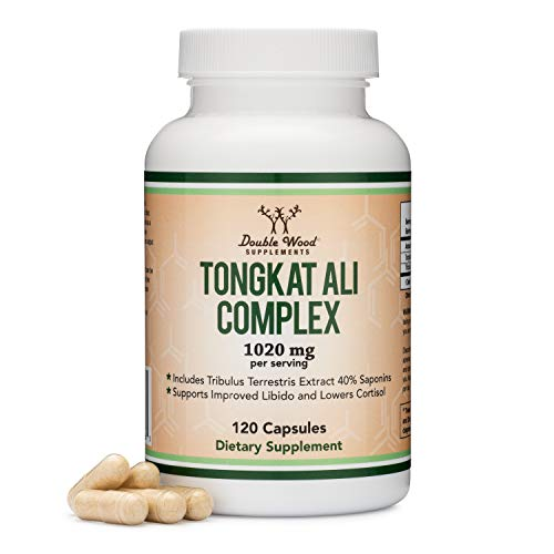 Tongkat Ali Extract 200 to 1 (Longjack) Eurycoma Longifolia, 1000mg per Serving, 120 Capsules - Natural Testosterone Supplement and Libido Booster, with 20mg Tribulus Terrestris by Double Wood