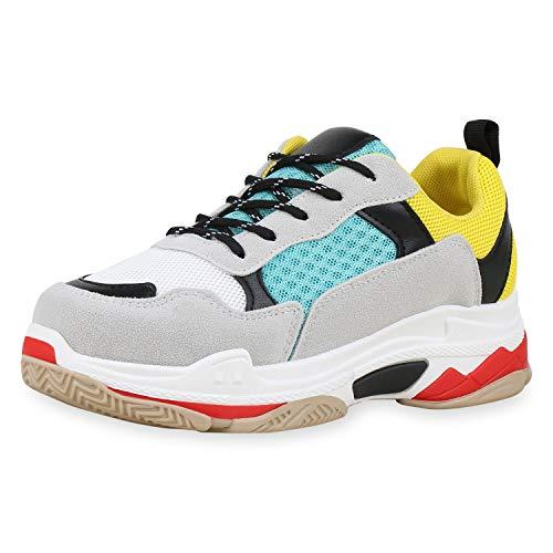 SCARPE VITA Damen Dad Sneaker Plateau Turnschuhe Bunte Freizeitschuhe 180234 Gelb Türkis Hellgrau 37