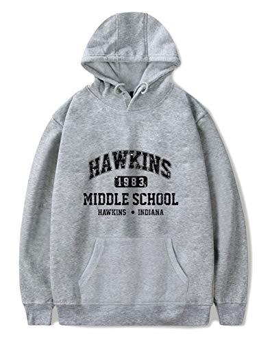 SIMYJOY Unisex Hoodie Hawkins Middle School Pullover 1980er Jahre Mode Vintage Sweatshirt Streetwear für Mann Frau Teen grau A M