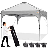 ABCCANOPY Canopy Tent 10x10 Pop Up Canopy Outdoor Canopies Super Compact Canopy Portable Tent Popup Beach Canopy Shade Canopy Tent with Wheeled Carry Bag Bonus 4xWeight Bags,4xRopes&4xStakes, Gray