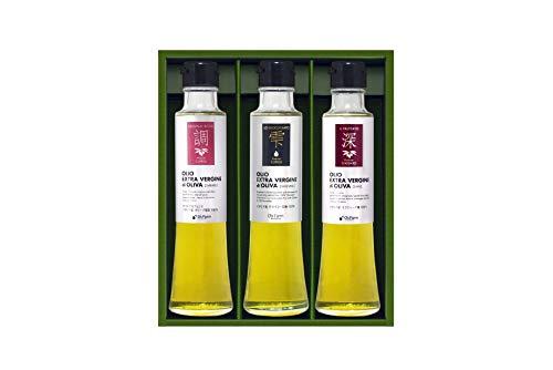O's Farm 品種による味わいが楽しめる・贅沢イタリア産3種のオリーブオイル食べ比べギフト(182g×3本)