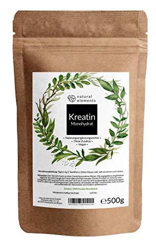 Creatin (Kreatin) Monohydrat Pulver 500g - Einführungspreis - Laborgeprüft, ohne Zusätze, vegan und ultrafein (Meshfaktor 200)