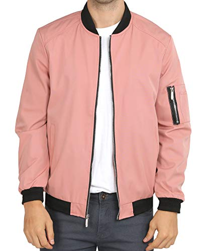 Mens Casual Lightweight Jacket Softshell Flight Bomber Pink Varsity Jacket