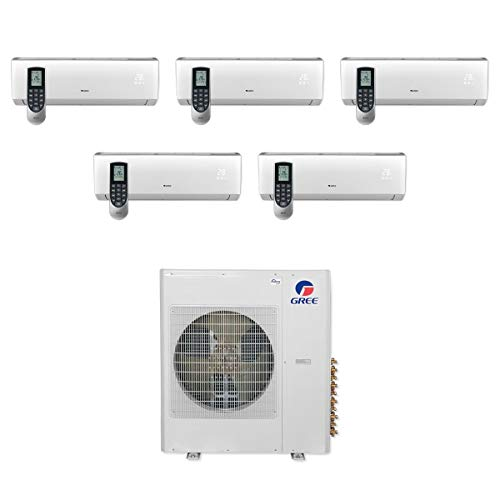 GREE MULTI42CVIR501-42,000 BTU Multi21+ Penta-Zone Wall Mount Mini Split Air Conditioner Heat Pump 208-230V (9-9-9-9-12)