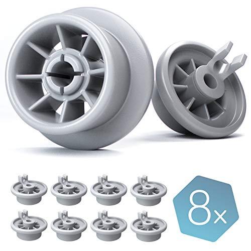 Plemont Spülmaschinen-Rollen [8er Set] - Universell für viele gängige Bosch & Siemens Geschirrspüler - Korbrollen Ersatzteile - 1 Jahr Geld zurück (8 Stück)