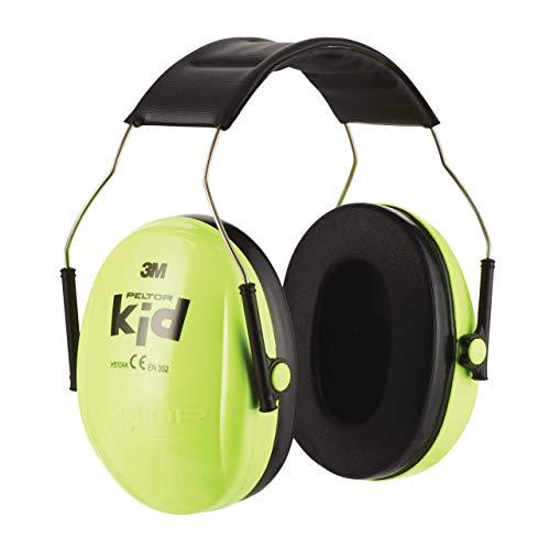 3M Peltor Kid Kapselgehörschützer neongrün - Kinder Gehörschutz mit verstellbarem Kopfbügel für Lärm bis 98dB - SNR 27 Hörschutz mit hohem Tragekomfort und geringem Gewicht