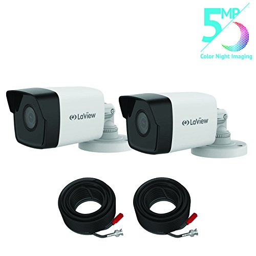 LaView Two Pack 5MP HD-TVI Bullet Security Cameras, Color Night Vision Indoor/Outdoor IP67 Weatherproof with 60 Feet BNC Cables