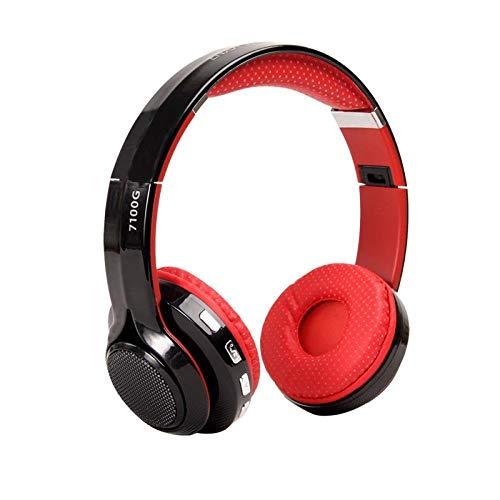 Nxsp - LED-Licht Bluetooth-Headset Stereo-Headset HiFi Subwoofer Motion Bluetooth Musik Headset, Rot