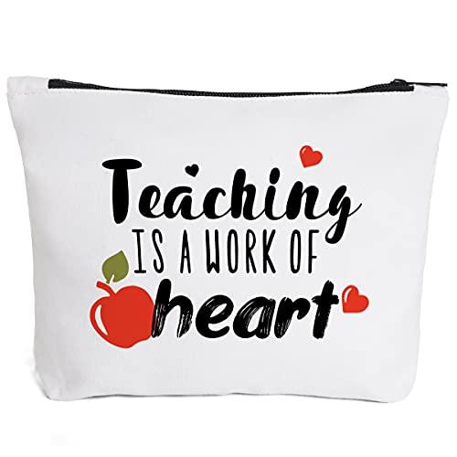 Ihopes Cute Teacher Appreciation Cotton Zipper Pouch Bag | Best Teacher Pencil Pouch Bag Cosmetic Travel Bag Make-Up Toiletry Case Multifunction Pouch Gifts for Teacher Women Girls Friends
