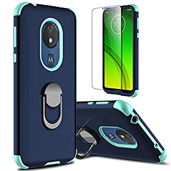 lovpec Moto G7 Power Case Moto G7 Supra Case with Soft TPU Screen Protector Moto G7 Optimo Maxx Case Ring Magnetic Holder Kickstand Protective Phone Cover Case for Motorola Moto G7 Power  Navy