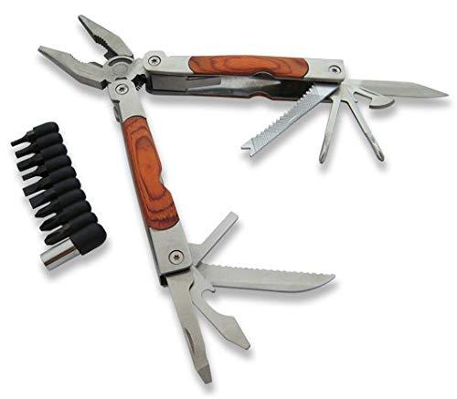 KOSxBO® set multifunctioneel gereedschap inclusief etui - zakmes, tang, schroevendraaier, zaag, bits, blikopener, flesopener