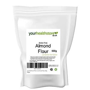 Yourhealthstore Premium - Harina de almendras finamente molida 500 g, sin OGM, blanqueada, Keto, vegana, de España (bolsa reciclable).