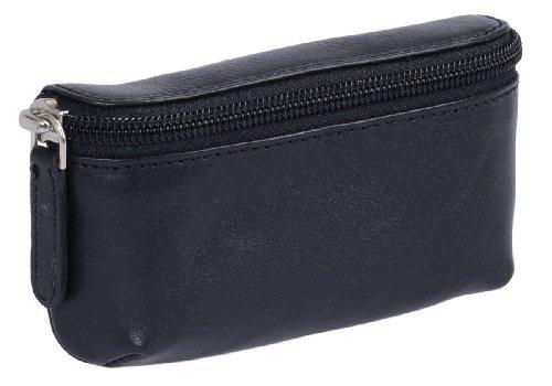 LEAS Pequeño bolsa de cinturón, Piel auténtica, negro Travel-Line''