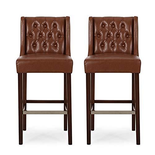 Spencer Barhocker, modernes Design, 2 Stück, Cognac / Espresso