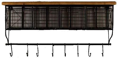 Wandplanken ijzer drijvende planken decoratieve wandplank retro stijl met houten haak opslag display ladekast