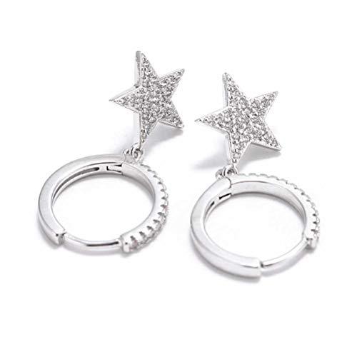 ZAIZAI Pendientes de aro de oro de cristal para mujeres y niñas (color: plata)