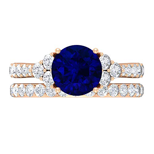 Conjunto de anillos de novia creados en el laboratorio de zafiro azul, piedras preciosas redondas de 3,55 quilates, anillo de solitario D-VSSI Moissanite 8 mm, 14K Oro rosa, Size:EU 64