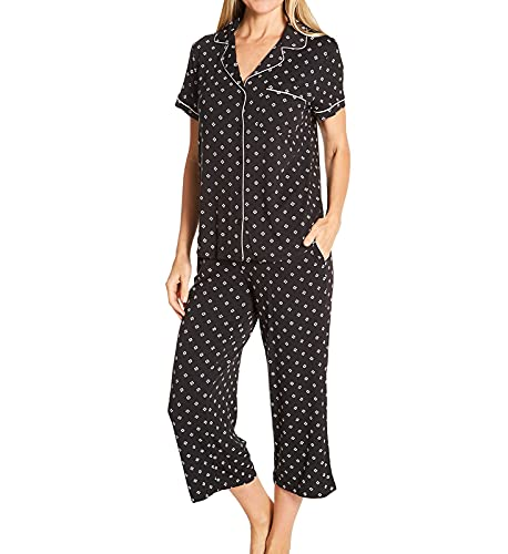 Kate Spade New York Short Sleeve Cropped PJ Set Black Heart Clover LG