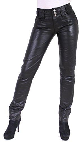 RICANO Skinny Pant Damen Lederhose aus Lamm Nappa Echtleder in schwarz mit schwarzen oder weißen Nähten (Schwarz - Schwarze Nähte, M)