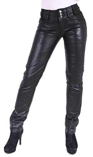 RICANO Skinny Pant Damen Lederhose aus Lamm Nappa Echtleder in schwarz mit schwarzen oder weißen Nähten (Schwarz - Schwarze Nähte, L)