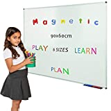 Wonderwall Drywipe Steel Magnetic Whiteboard with Fixings and Pen Tray, 900 X 600 mm Wall Mounted Aluminium Frame White Wipe Board 8 Sizes to Choose from, for Home, Office, Homework, School, Kids