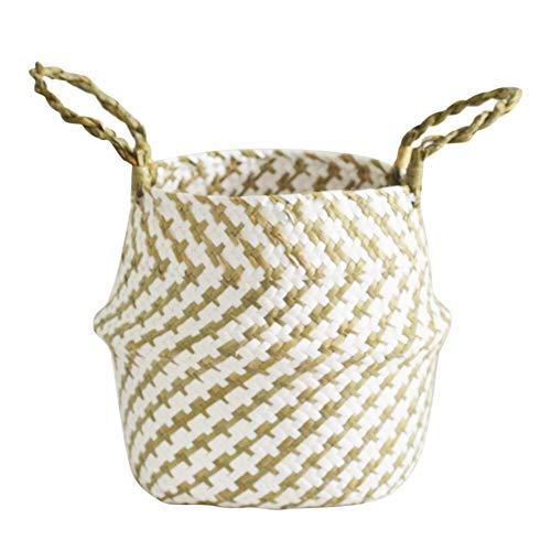 Leobtain Seagrass Canasta de Flores Canasta de Mimbre Maceta Plegable Canasta Sucia Almacenaje para Home Garden Decoración de la Pared de la Boda Piscina y Habitaciones(Amarillo)