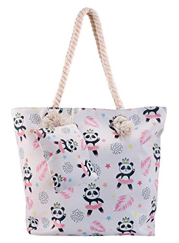 Panda Beach Shoulder Tote Bag - Ballerina Panda Weekender Travel Bag - Comes with Quick Reach Zipper Pouch