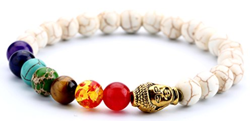 Doitory Men Women 8mm Lava Rock Chakra Beads Bracelet Elastic Natural Stone Yoga Bracelet Bangle(Golden Buddha1)