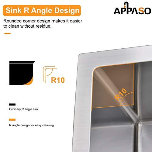 APPASO 32-Inch Single Bowl Kitchen Sink Undermount, 16-Gauge Stainless Steel 10-Inch Deep Commercial Handmade Large Drop-in Kitchen Sink, HS3219