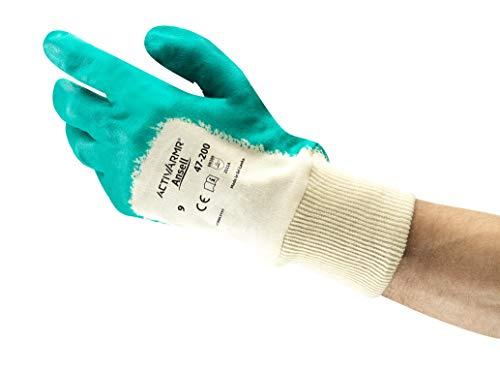 Ansell ActivArmr 47-200 Guanti da Lavoro per Impieghi Gravosi, Resistenza al Taglio e all'Olio, Rivestimento in Nitrile senza Silicone, Taglia L (12 Paia)