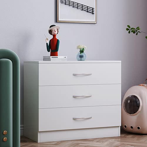 Songtree Chest of Drawers 3/4/5 Drawer with Metal Handles and Runners Bedside Table Cabinet Storage for Bedroom Living Room Furniture (3 Drawer, White)