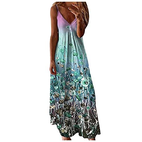 Schwarz/Grün/Grau/Weiß/Lila/Blau Damen Sommerkleid Ärmelloses Maxikleid Spaghetti Strap Lang Kleider Sommer V-Ausschnitt Ärmellos Kleid...