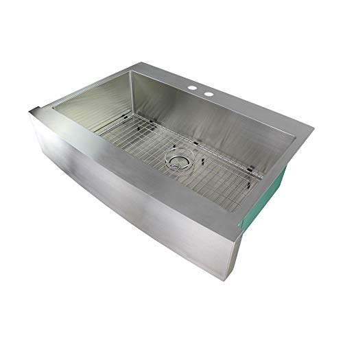 Transolid DTSSF362510-ML2 Diamond 2-Hole Dual Mount Single Bowl 16-Gauge Stainless Steel Kitchen Sink 36-in x 25-in x 10-in Brushed Finish