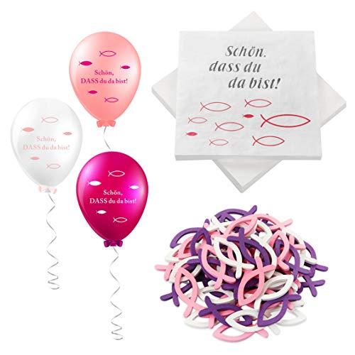 32 Stück Servietten Fisch Rosa Türkis +60 Stücke Holz Fische Deko+18 Luftballons , Taufdeko , Servietten für Mädchen Konfirmation Kommunion Taufe Tischdeko, Servietten Taufdeko Tisch Deko (Rosa)