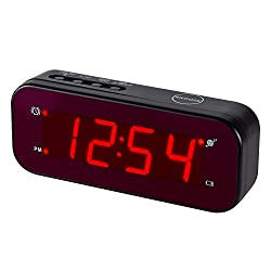 Timegyro Digital Alarm Clock Easy Setting and Battery Operated Only Big Red Digits for Bedroom/Living Room/Travel(Black)