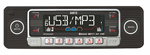 Dietz Retro 201 _ BT Auto Radio de 1 DIN Retro Bluetooth de Radio CD, MP3, USB, SD, RDS, Entrada Auxiliar, con Mando a Distancia – Color: Negro