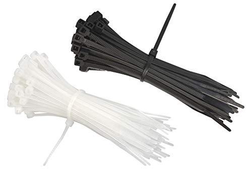intervisio Juego Bridas de Plastico para Cables 200mm x 2,5mm, Negro y Blanco, 200 Piezas