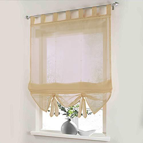 i@HOME Voile Raffrollo 100 x 155 cm Raffrollo ohne Bohren Raffgardine mit Schlaufen Fenstervorhang Scheibengardinen Rollos Schlaufen Transparent Vorhang für Fenster