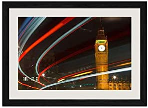 England London Big Ben - Art Print Wall Black Wood Grain Framed Picture(20x14inch)
