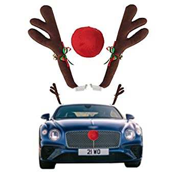 FEIJI Car Reindeer Antlers & Nose - Window Roof-Top & Grille Rudolph Reindeer Jingle Bell Christmas Costume - Auto Accessories Decoration Kit Best for Car SUV Van Truck Xmas Gift Set  Type-1