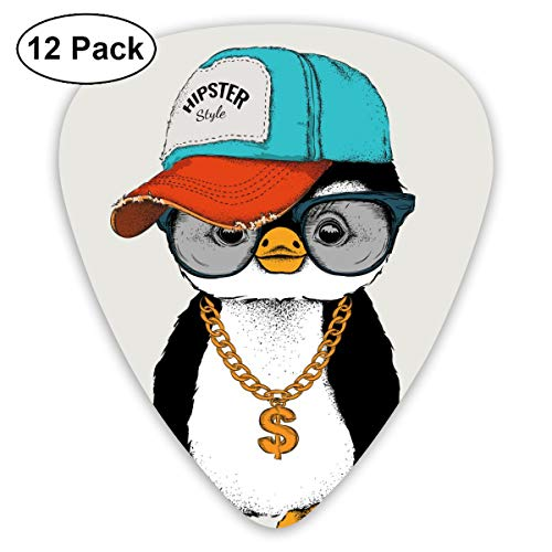 Houity Juego de 12 Palas de Guitarra con diseño de pingüinos en Hip-Hop, Hechas de Material ABS Respetuoso con el Medio Ambiente, aptas para Guitarras, Cuadros, etc.