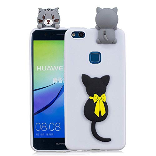 LAXIN Cute Cat Case for Huawei P10 Lite,Cute 3D Cartoon Animal Cover,Kids Girls Soft Cool Silicone Gel Rubber Kawaii Character Fashion Unique Fun Shockproof Protector Shell for Huawei P10 Lite