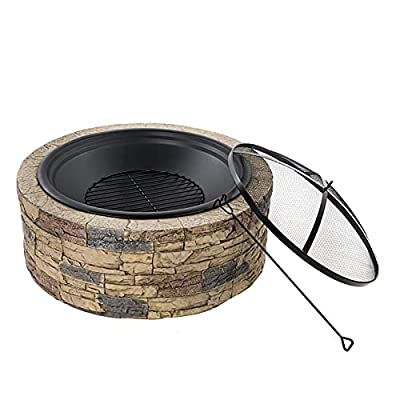 Fire Pit Wood-Burning fire Pit Bowl with Sparkle Screen, Fireplace Poker, Metal Grille Outdoor Park fire Pit Set by Lijack