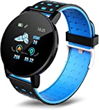 Bluetooth reloj inteligente podómetro deportes impermeable redondo pulsera inteligente-119 azul