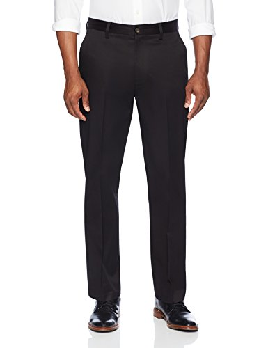 Amazon Brand - Buttoned Down Men's Relaxed Fit Flat Front Non-Iron Dress Chino Pant, Black, 33W x 30L