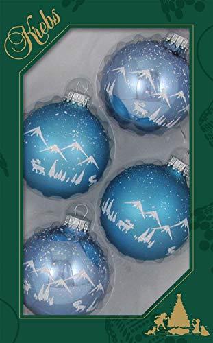 Krebs glas Lauscha lichtblauw glans/mat glazen bol 7cm met wit Alpenpanorama gedecoreerd