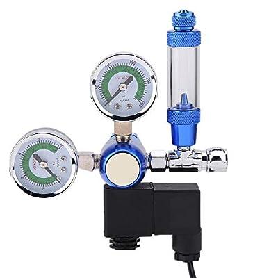 220V Aquarium CO2 Druckminderer G5/8 Aquarium Doppelmesser CO2 Druckregler Ventil Co2 Blasenzähler Aquarium Manometer Equipment mit Bubble Counter für Aquarium Wasserpflanze CO2 System