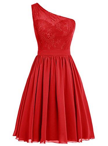 Dresstells Damen Kurz Brautjungfernkleider Ein-Schulter Chiffon Abendkleid Ballkleid Cocktailkleid...