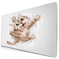 マウスパッド 大型 ゲーミング キーボードパッド 猫 白 キュート ペット 顔 ゴム底 光学マウス ゲーム 特大 40cm×75cm 滑り止め エレコム 耐久性が良い おしゃれ かわいい 防水 サイバーカフェ オフィス最適 適度な表面摩擦