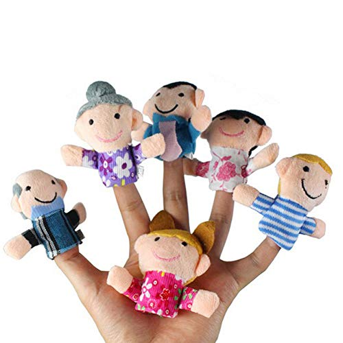 MAyouth 6 PCS Happy Family Mitglied Fingerpuppen Set Kinder - Groß für EIN Kind der Phantasie und Kreativität entwickeln